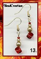 dangle earrings red and gold glass