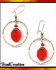 fashion hoop earrings red glass handmade