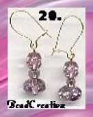 pink mirror beaded glass earrings handmade