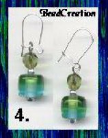 Green and Turquiose Glass Earrings