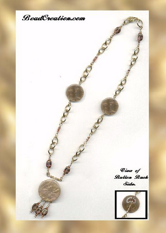 Button Necklace with gold & copper
