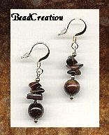 red tigers eye stone earrings with 22k gold